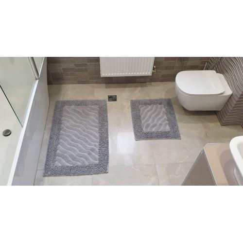 Набор ковриков для ванной Mosso волна серый