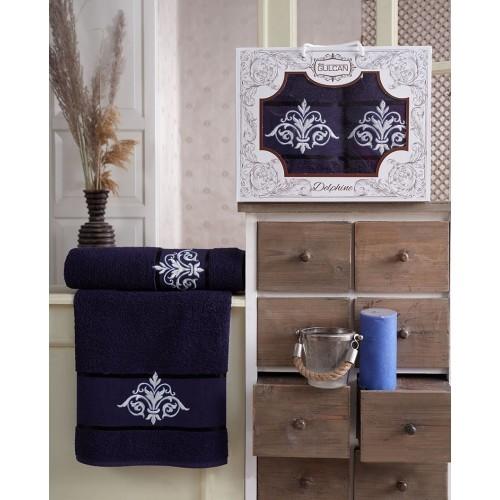 Набор полотенец подарочный вензель синий