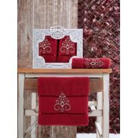 Набор полотенец подарочный вензель бордо