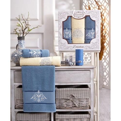 Набор полотенец подарочный вензель голубой - крем