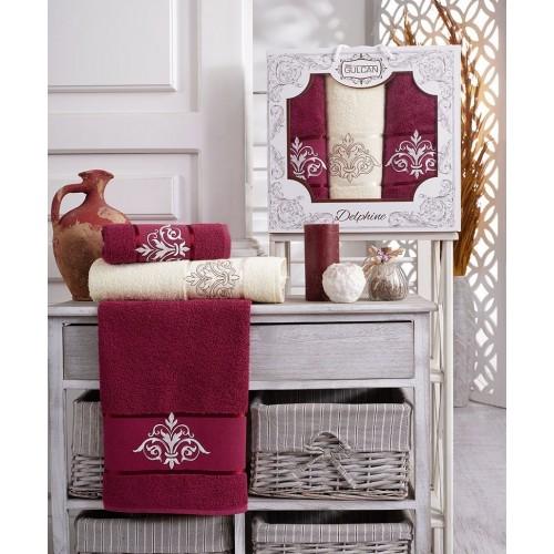 Набор полотенец подарочный вензель бордовый - крем