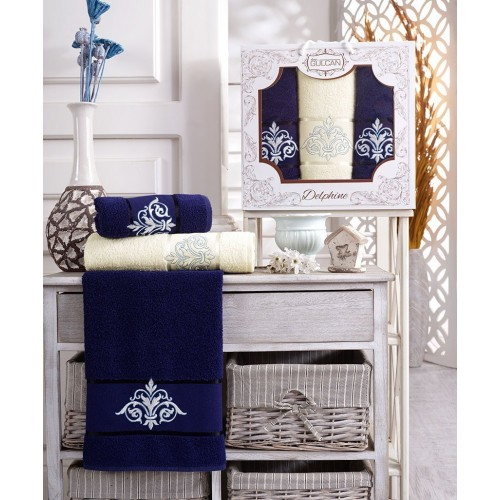 Набор полотенец подарочный вензель синий - крем