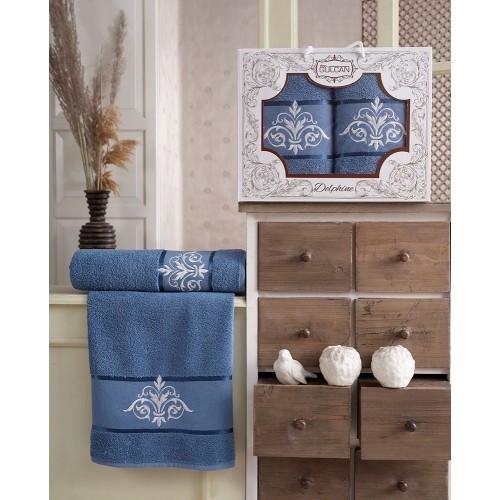 Набор полотенец подарочный вензель голубой