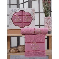 Набор полотенец Gursan Cassia темно - розовое