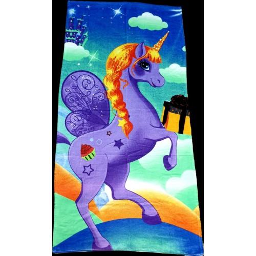 Полотенце пляжное Единорог голубой