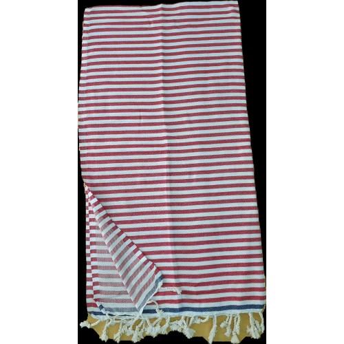 Пештемаль  полотенце для пляжа и бани полоска красная