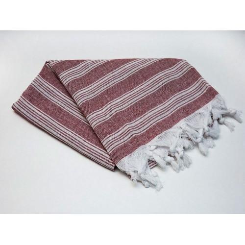 Пештемаль  полотенце для пляжа и бани линия коричневая