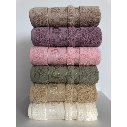 Комплект полотенец  6 шт Cestepe Vip cotton Kelebek