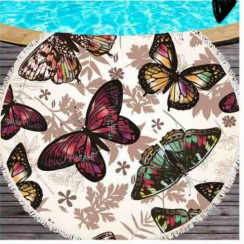 Полотенце пляжное круглое - Бабочки