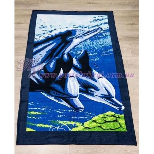 Полотенце пляжное Три дельфина