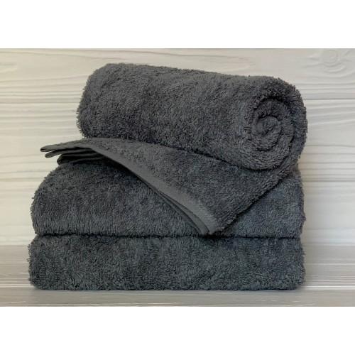 Туркменское махровое полотенце Серое