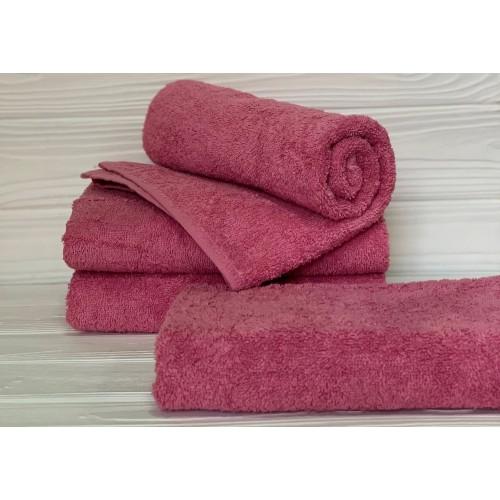 Туркменское махровое полотенце Темно - Розовое
