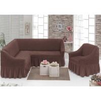 Чехол на угловой диван и кресло с юбкой - коричневый