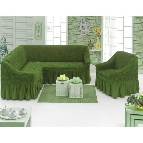 Чехол на угловой диван и кресло с юбкой - зеленый