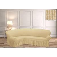 Чехол на угловой диван с юбкой - крем