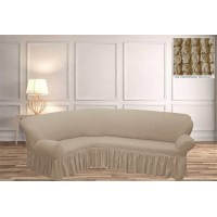 Чехол на угловой диван с юбкой - топленое молоко
