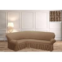 Чехол на угловой диван с юбкой - беж