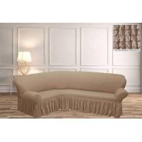 Чехол на диван уголок - какао