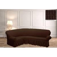 Чехол на угловой диван с юбкой - шоколадный