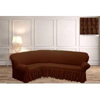 Чехол на угловой диван с юбкой - коричневый