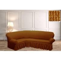 Чехол на угловой диван с юбкой - ярко горчичный