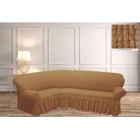 Чехол на угловой диван с юбкой - медовый