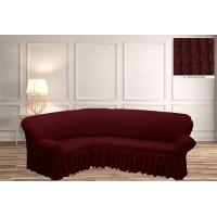 Чехол на угловой диван с юбкой - бордовый