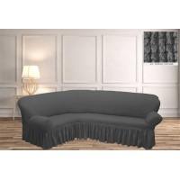 Чехол на угловой диван с юбкой - графит