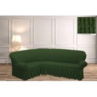 Чехол на угловой диван с юбкой - зеленый