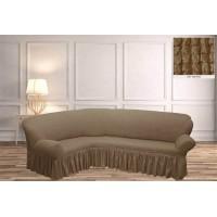 Чехол на угловой диван с юбкой - экрю
