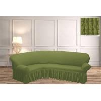 Чехол на угловой диван с юбкой - фисташковый