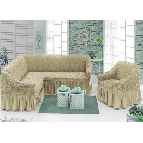 Чехол на угловой диван и кресло с юбкой - беж