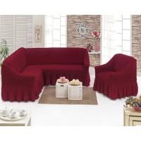 Чехол на угловой диван и кресло с юбкой - бордовый