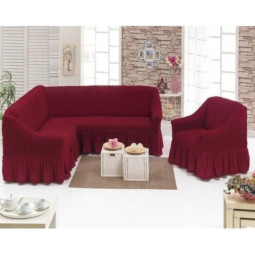 Чехол на угловой диван и кресло - бордовый