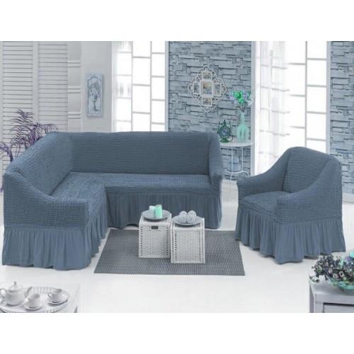 Чехол на угловой диван и кресло с юбкой - серый