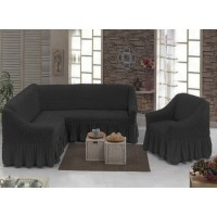 Чехол на угловой диван и кресло с юбкой - антрацит