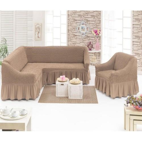 Чехол на угловой диван и кресло с юбкой - капучино