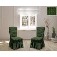 Чехлы на стулья с юбкой 6 штук - зеленые