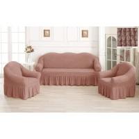 Чехол на диван и кресла с юбкой - пудровый