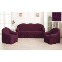 Чехол на диван и кресла с юбкой - лесная ягода