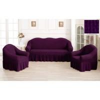 Чехол на диван и кресла с юбкой - фиолетовый