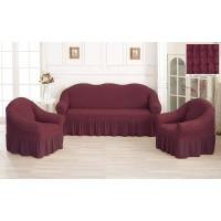 Чехол на диван и кресла с юбкой - малиновый