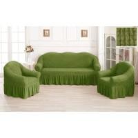 Чехол на диван и кресла с юбкой - фисташковый