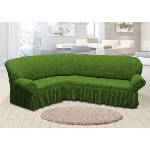 Чохол на кутовий диван жакардовий зі спідницею вензель зелений