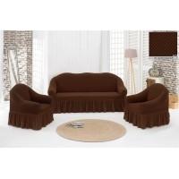 Жаккардовый чехол на диван и кресла с юбкой - коричневый