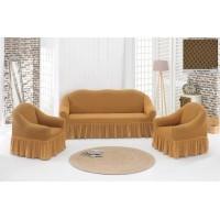 Жаккардовый чехол на диван и кресла с юбкой - медовый