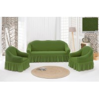 Жаккардовый чехол на диван и кресла с юбкой - зеленый