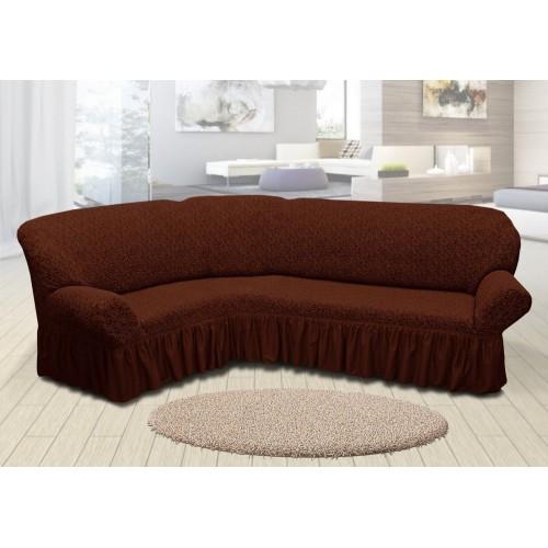 Чохол на кутовий диван жакардовий зі спідницею вензель коричневый