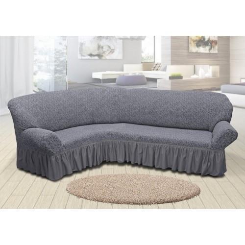 Чехол на угловой диван жаккардовый с юбкой вензель серый