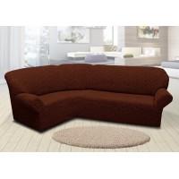 Чехол на угловой диван жаккардовый без юбки вензель коричневый